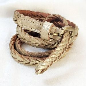 LOFT Gold Skinny Braided Belt sz M #1290